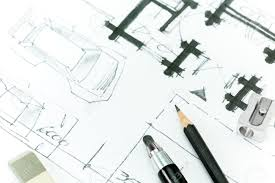 drawing floor plans by hand graphical sketch by pencil of house plan hand drawing stock