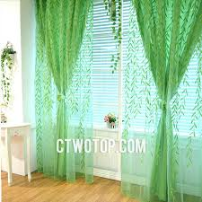 Blue Green Sheer Curtains Willow Leaf Lime Green Country Asia Best Sheer Curtains