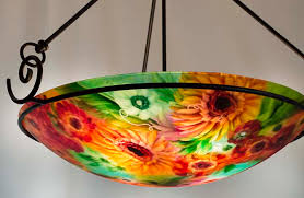 Orange Glass Chandelier Reverse Hand Painted Glass Chandeliers And Tropical Art Jenny