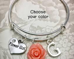 flower girl charms flower girl bracelet etsy