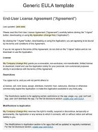 Screenshot of sample EULA template