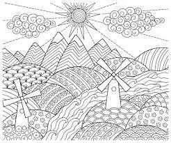 Doodle motif en noir et blanc Modèle de paysage pour cahier de