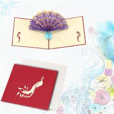 Design Birthday Cards Online Perfect 3d Pop Up Birthday Wedding Party Card Peacock Design