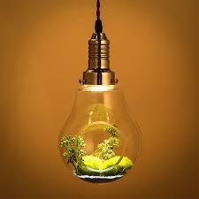 creative glass plants big bulb green plant pendant l restaurant