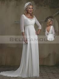 robe de mariã e classique robe de mariée classique longue col rond empire 3 4 manches gaine
