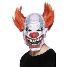 mens red halloween evil clown mask with pointed hair 26473