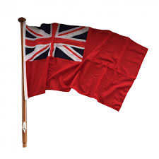 Flag Pole Winch Sewn Red Ensign And Traditional Wooden Flag Staff