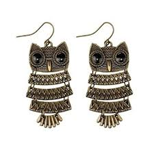 buy earrings online buy girlz fashion bronze finish owl earrings online at low prices