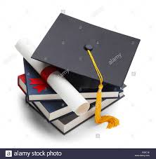 graduation books books with graduation cap and degree isolated on white background