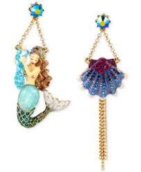 mermaid earrings betsey johnson gold tone mermaid seashell mismatch drop earrings