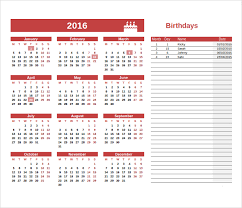 Free Birthday Calendar Template Excel Sle Birthday Calendar Template 13 Documents In Pdf Word