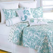 Turquoise And Coral Bedroom Cora Turquoise Coral Coastal Quilt Bedding