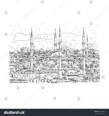 kocatepe mosque ankaraturkey vector freehand pencil stock vector