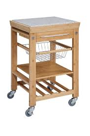 kitchen islands with granite top amazon com bamboo kitchen cart with inlaid granite top bar
