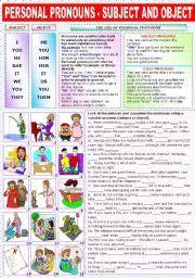 english exercises subject and object pronouns