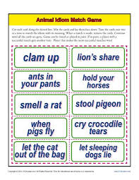 animal idiom match game 4th and 5th grade worksheets