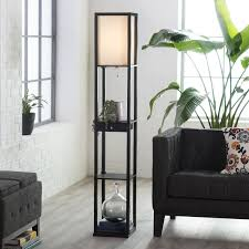 Adesso Table Lamp Adesso Parker 3133 Shelf Lamp With Drawer Black Hayneedle