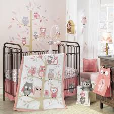 Coral Nursery Bedding Sets by Lambs U0026 Ivy R Family Tree Owl Coral Gray Gold 4 Piece Crib