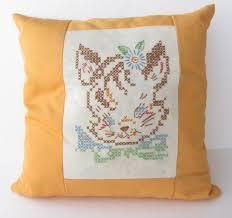 vintage cross stitch cat pillow cover cute cat pillow vintage