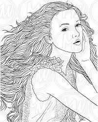 coloring page woman face long hair illustration