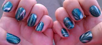 4 blue green gold and glitter water marble nail art a sparkly