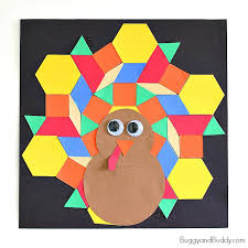 Easy Thanksgiving Projects For Kids Pattern Block Turkey Craft For Kids Buggy And Buddy