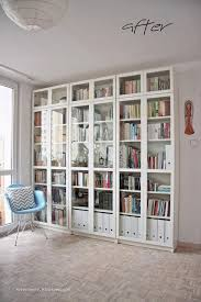 Ikea Bookcases With Doors Library Living Room Home Decor Ikea Billy Eames Chair