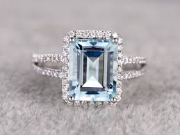 aquamarine diamond ring aquamarine and diamond ring emerald cut engagement ring 14k white