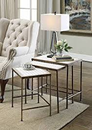 3 piece nesting tables amazon com black 3 piece nesting tables with slate top kitchen