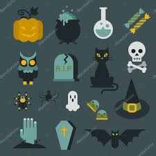 halloween flat icon set modern style creative design template