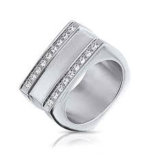 geometric square grooved two row cz stainless steel mens ring