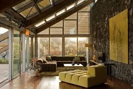green living room stone wall experimental bioclimatic house tenerife
