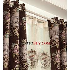 Thermal Cafe Curtains Retro Style Chenille Fabric Floral Pattern Coffee Color Insulated