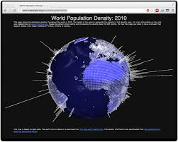 Earth Globe Map World by World Population Density In 2010 On 3d Rotating Globe Visual Ly