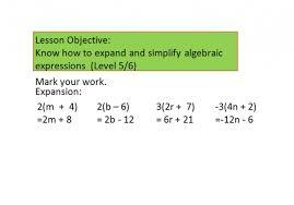 ks3 maths worksheet for expanding and simplifying algebraic