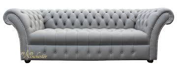 Grey Leather Chesterfield Sofa Chesterfield Balmoral 3 Seater Sofa Settee Buttoned Seat Silver