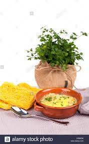 broth with capellini pasta stock photo royalty free image