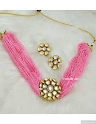 choker necklace pink images Pink beads round vilandi kundan pendant choker necklace set jpeg