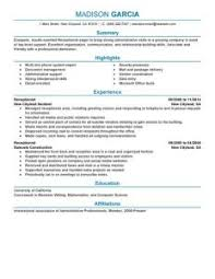 Receptionist Resume Sample by Excellent Ideas Receptionist Resume Examples 8 Best Example Cv