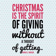 is the spirit of giving without a thought of getting