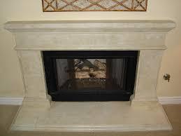 light cream marble mantel covering fireplace interior