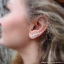ear climber earring flower ear cuff ear climbers sterling silver ear sweep