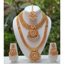 double necklace set images Flanoy traditional and ethnic one gram gold plated kundan necklace jpg