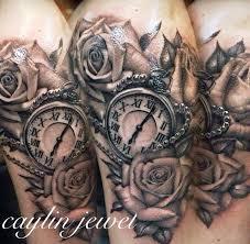 caylin jewel realistic roses and pocket watch tattoo women u0027s