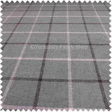 wool upholstery fabric soft wool effect chenille tartan design green cream colour