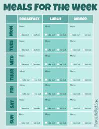 menu planner template free printable free menu planner printable