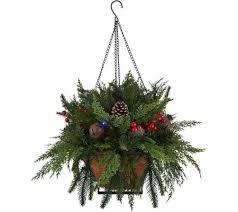 christmas hanging baskets with lights as is bethlehem light prelit indoor outdoor cedar hanging basket