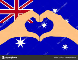 Austrslia Flag Vector Illustration Of Australia Flag And Hands Making A Heart