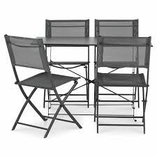 B Q Bistro Chairs Saba Anthracite Metal 4 Seater Dining Set Departments Diy At