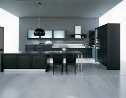 modern kitchen design for small apartment with grey floor kitchen